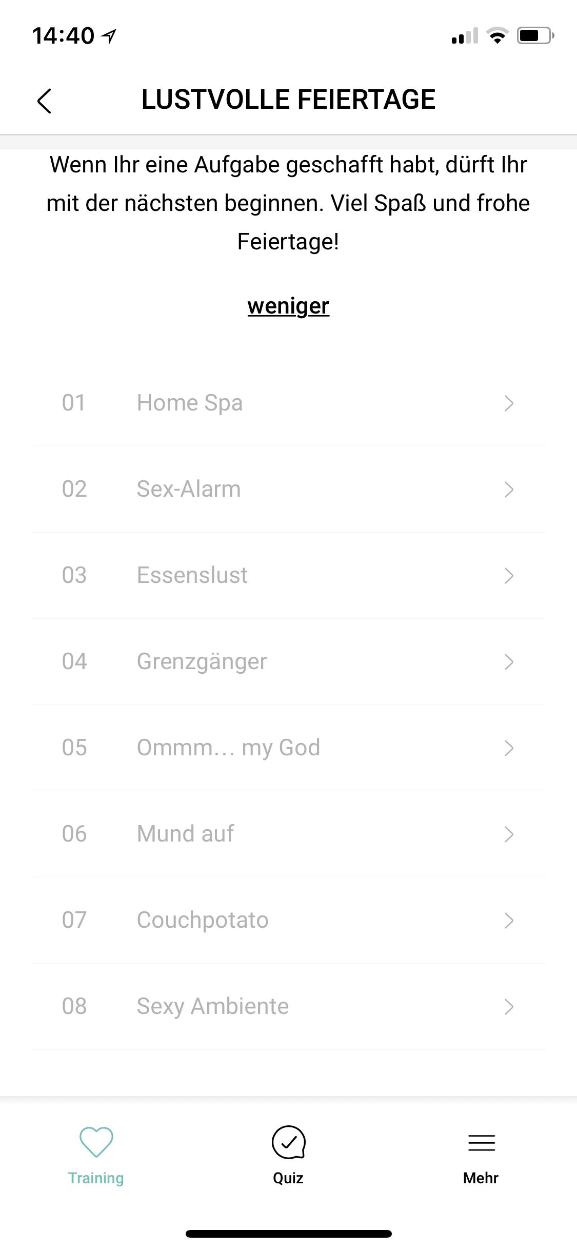Amorelie Adventskalender App Aufgabenliste