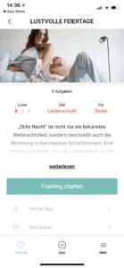Amorelie Adventskalender App Training Start