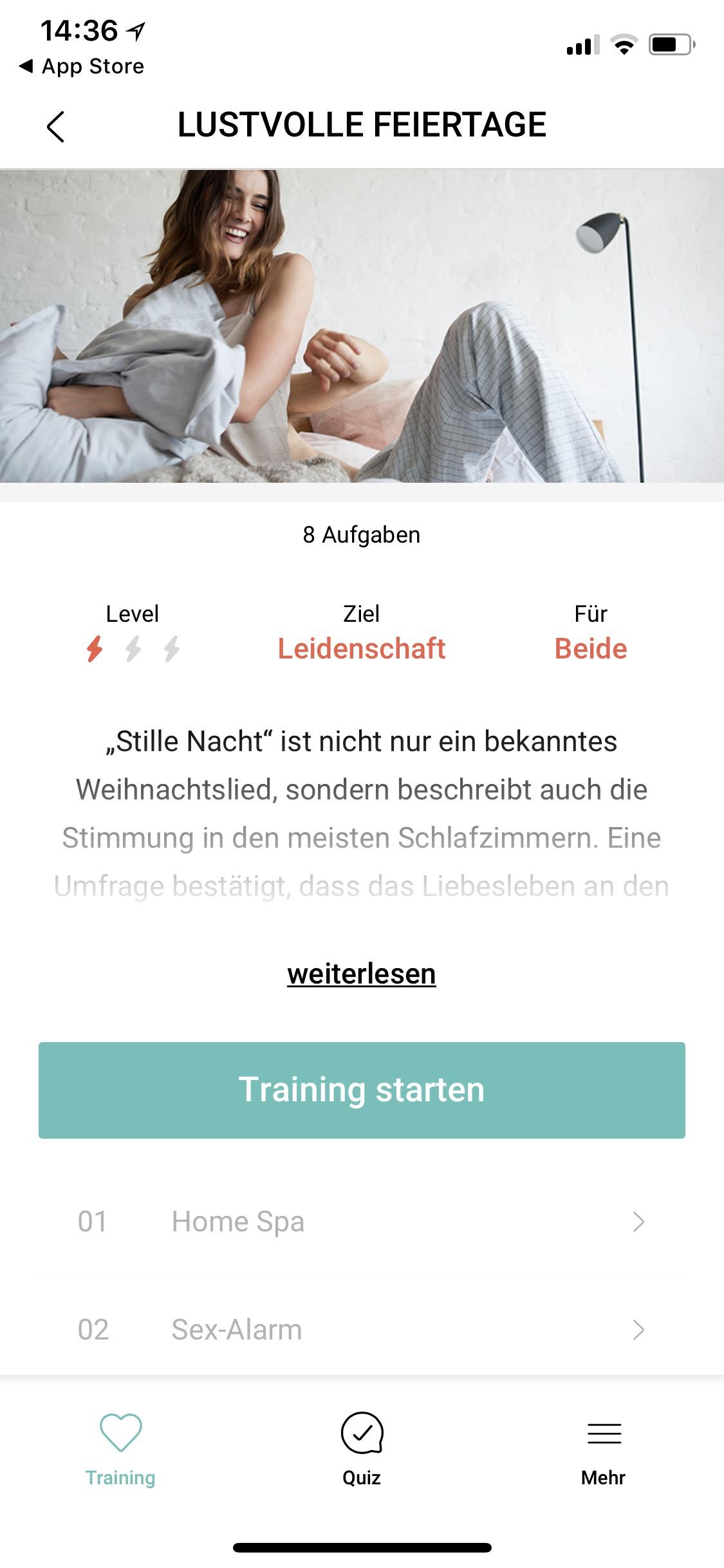 Amorelie Adventskalender App Trainingsaufgaben